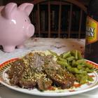 Piggy bank admires sesame beef