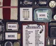Disaster preparation kit flat lay