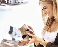 Woman having good taste in shoes and saving money