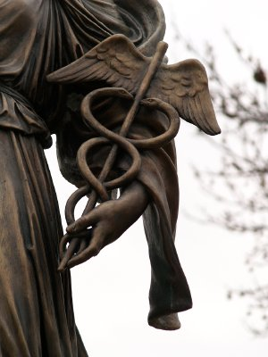 "Caduceus: Detail Of Giuseppe Moretti's 1922 Bronze ""Hygeia"" Memorial To World War Medical Personnel (Pittsburgh, PA)"
