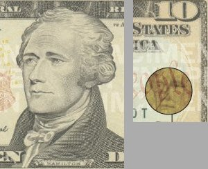 Hamilton portrait and watermark from a $10 bill