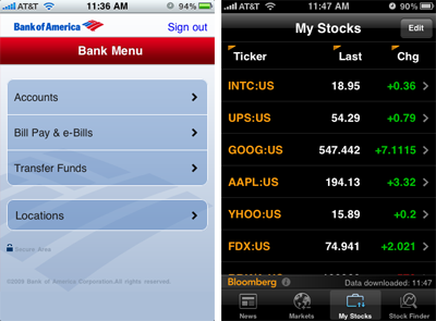 iPhone apps from Bank of America and Bloomberg
