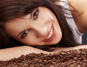 girl and coffee beans