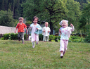 Happy kids running