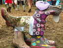 Recycling Wellington boots and duct tape dog sculpture