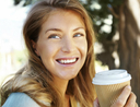 Woman drinking expensive coffee and spending too much money