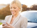 Woman using apps to find affordable parking