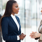 female businesswomen talking