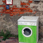 A green washing machine