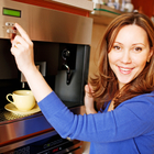 Woman with espresso machine