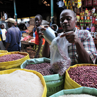 Bean vendor in market