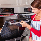 woman cooking oven