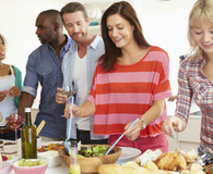 friends gather together for easy potluck dinner
