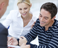 Young couple meeting with financial consultant