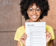 African woman with resume