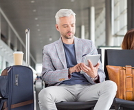 Businessman waiting for flight