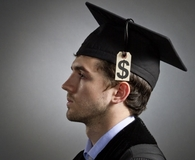 College grad learning sobering facts about student loan debt