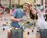 Couple traveling greener and saving money