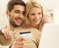 Young couple with secured credit card