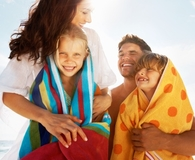 Family using best travel towels