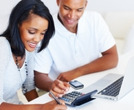 Couple giving their finances a year-end review