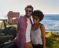 Couple on road trip together