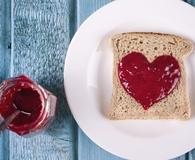 Eating toast and fresh jam