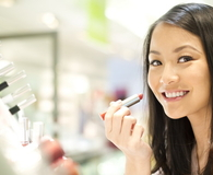 Happy cosmetics shopper