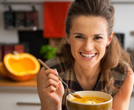 Woman learning how to save a ton by eating soup every day