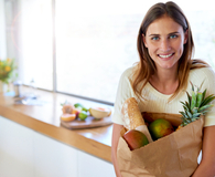Woman shopping for food once a month and saving big