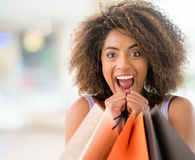 Woman shopping and ruining her whole budget