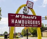Legacy McDonald's Hamburger Sign with Speedee V