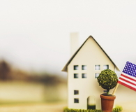 Little house with defocused street