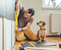 Man working on home improvement project