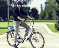 Man riding electric bicycle