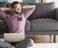 Man staying productive while working from home