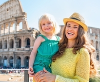 Woman saving on European travel with kids