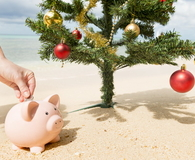 Piggy bank Under Christmas tree in Beach