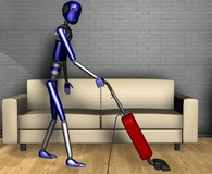 Robot vacuuming the floor and doing other things for you