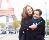 Romantic couple enjoying in Paris