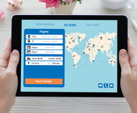 Tablet computer with application search air ticket