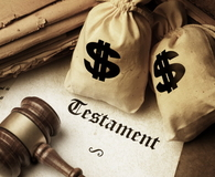 Testament gavel and sacks with dollar sign