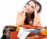 woman and luggage
