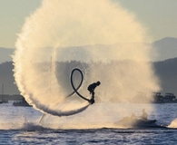 Man riding water jet pack that anyone can absolutely afford