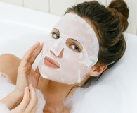 Woman wearing best sheet mask