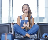 Woman learning travel hacks that frequent flyers keep secret