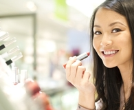 Woman always buying makeup at department stores