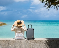Woman getting travel insurance for vacation