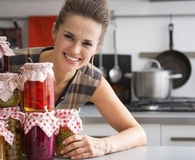 Woman making easy canned goods at home