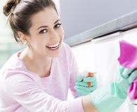 Woman getting home cleaner than a pro and saving big